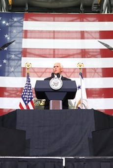 Vice President Mike Pence delivers remarks to a crowd of NASA engineers inside the Vehicle Assembly Building in Cape Canaveral, FLA on Thursday, July 6th.