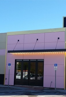 Entrance with marquee lighting