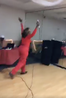 Orlando Commissioner Regina Hill literally jumped for joy after avoiding run-off election