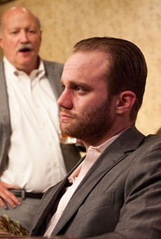 Zack Roundy as Treat, with Allan Whitehead as Harold and Adam Minossora as Phillip in Orphans at Theater On The Edge