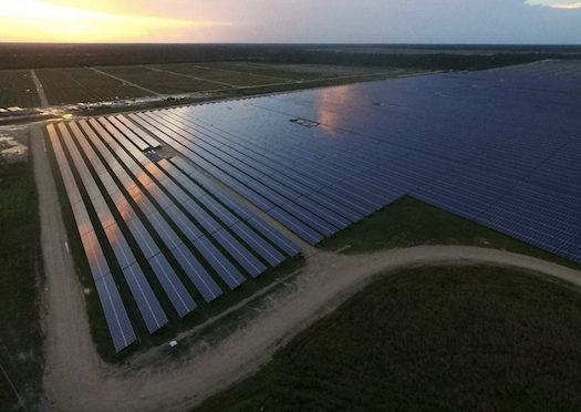 An aerial view of the solar farm during construction of Babcock Ranch - PHOTO COURTESY BABCOCK RANCH