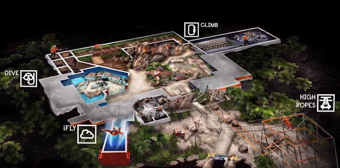 A map of the four main challenges at the Bear Grylls Adventure - IMAGE VIA BEAR GRYLLS ADVENTURE | YOUTUBE