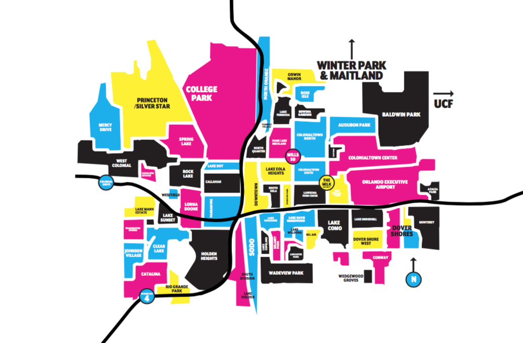 Orlando Metro Map.Orlando Neighborhood Map Newcomers Guide Orlando Orlando Weekly
