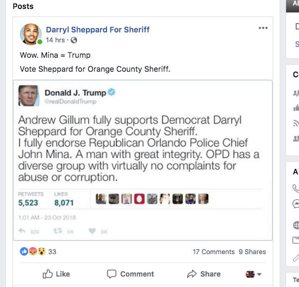 SCREEN GRAB VIA FACEBOOK.COM/SHEPP4SHERIFF