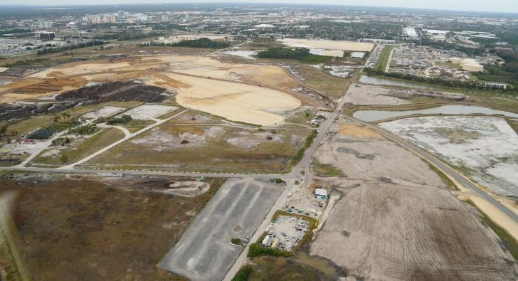 Site work where Universal's new south campus theme park is expected to be going. The theme park will be located in the center left with the parking lot on the righthand side of the image. - PHOTO BY BIORECONSTRUCT VIA TWITTER