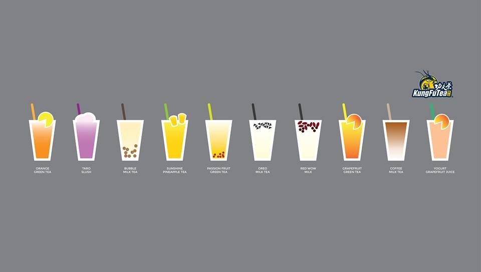 Kung Fu Tea's top 10 most popular flavors - IMAGE VIA KUNG FU TEA