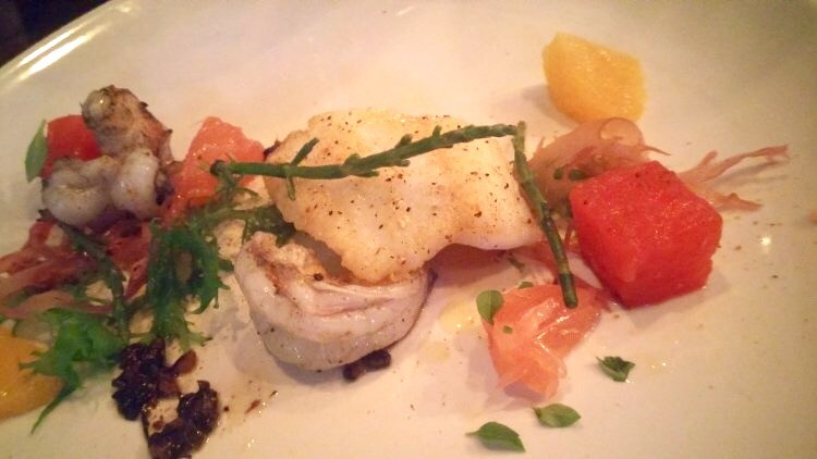 Lion fish, Key West shrimp, pickled citrus, plum-wine-marinated water mallow, sea beans, tosaka nori, housemade Old Bay seasoning