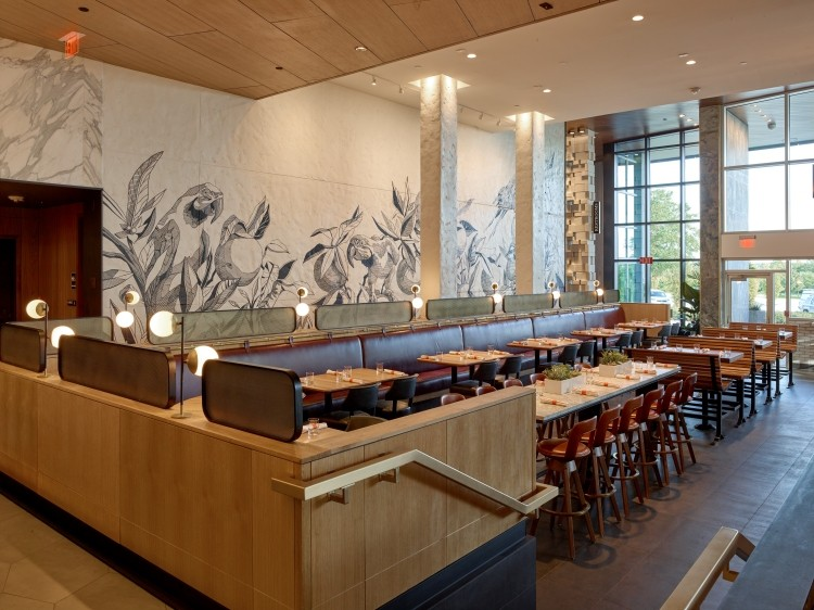 Dining area with mural by Andrew Spear