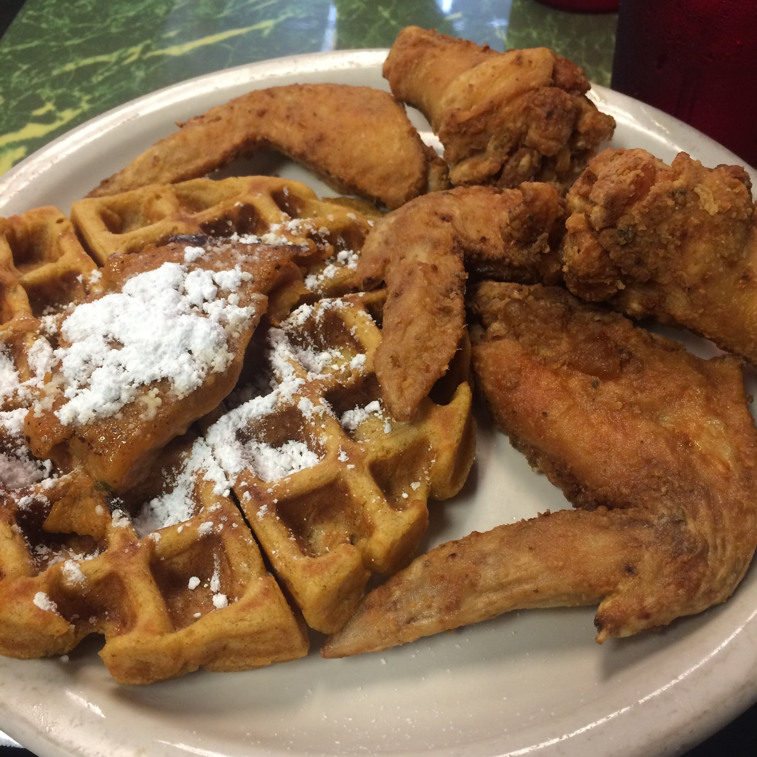 click to enlarge chicken and waffles at chef eddies on church street sarah grathwohl