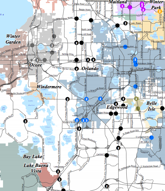 Locations of red light camera systems in Orange County. Click to view whole map. - PHOTO VIA ORANGE COUNTY