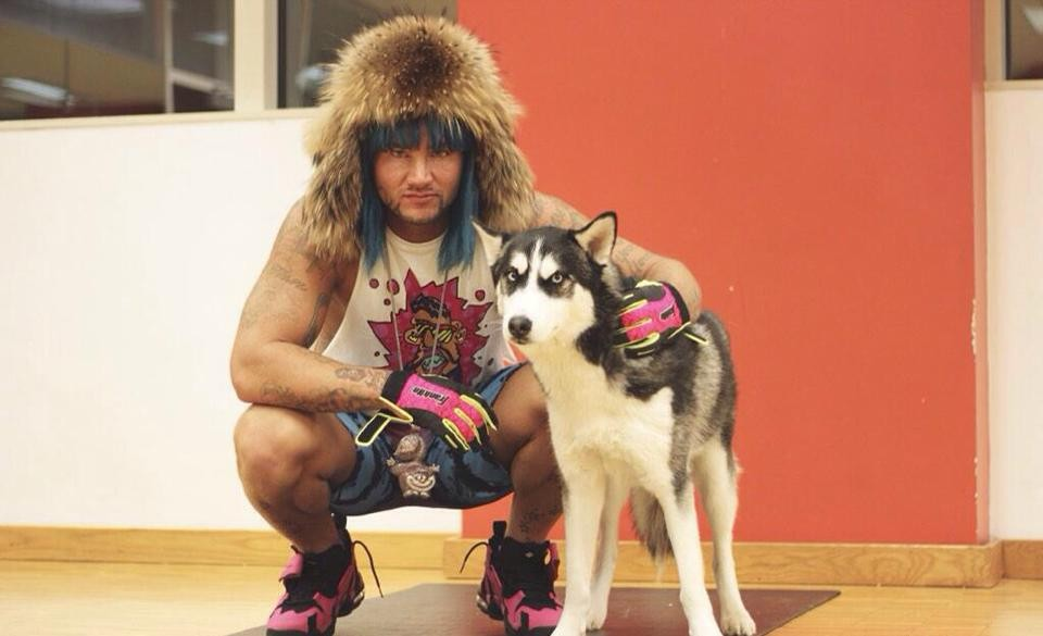 Riff Raff aka Jody Highroller, aka Iceberg Simpson, aka Kokayne Dawkins, aka The Peach Panther with his dog Jody Husky - PHOTO VIA RIFF RAFF/FACEBOOK