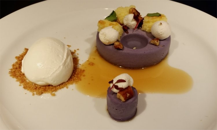Deconstructed purple sweet potato pie, salted caramel, bourbon-soaked cake, marshmallow whipped cream