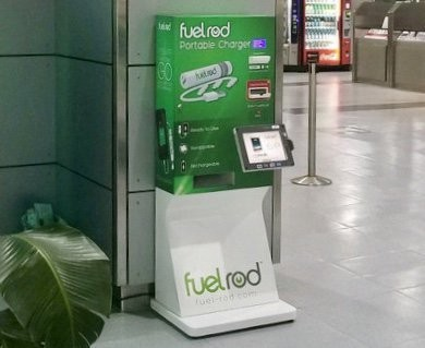 A FuelRod kiosk at Orlando Sanford International Airport - IMAGE VIA FUELROD | TWITTER