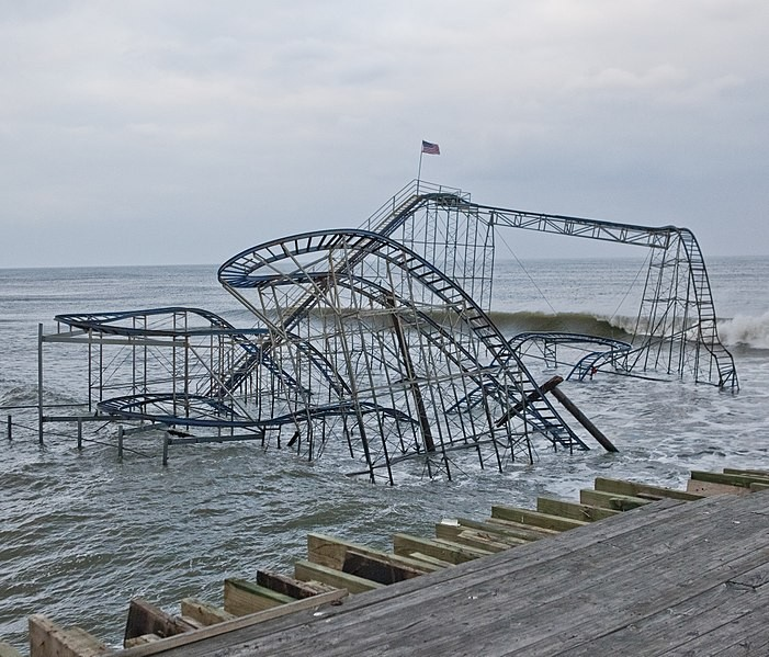 Superstorm Sandy's damage to the Star Jet coaster in Seaside Heights, New Jersey - IMAGE VIA ANTHONY QUINTANO/WIKIMEDIA
