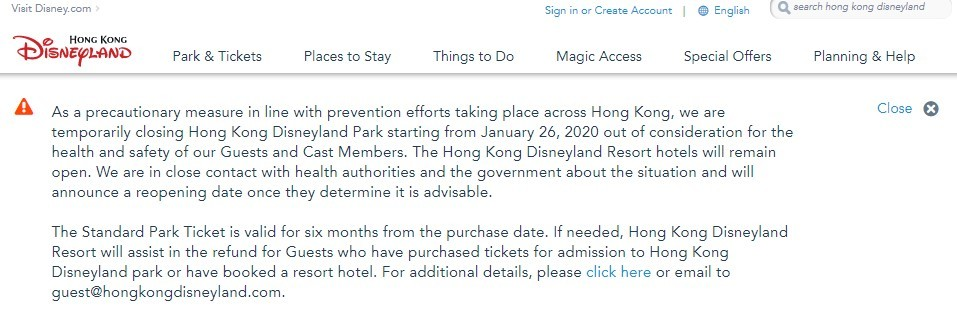 The park closure notice published on Hong Kong Disneyland's website - IMAGE VIA HONG KONG DISNEYLAND