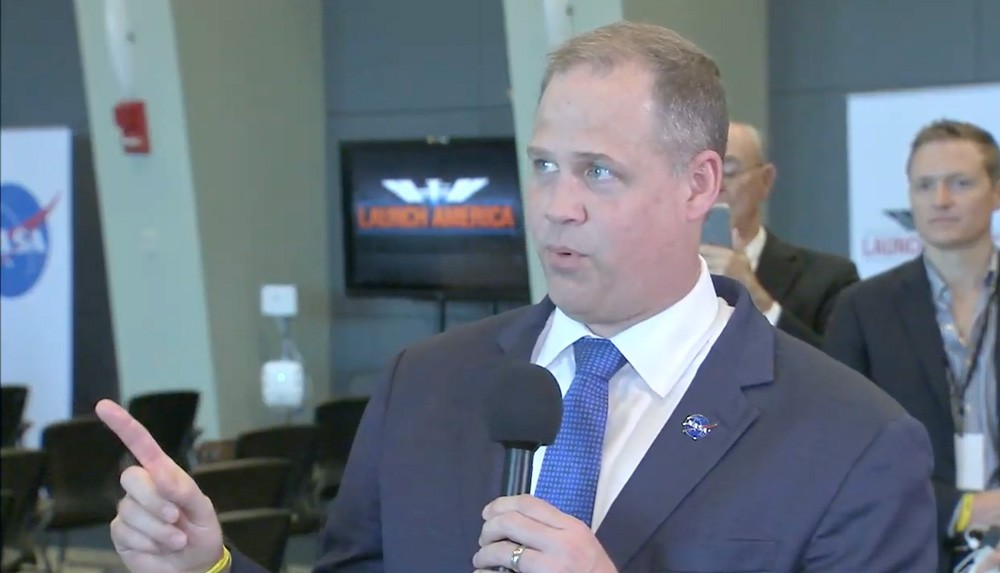 NASA Administrator Jim Bridenstine, speaking after the launch - SCREENSHOT VIA NASA/YOUTUBE