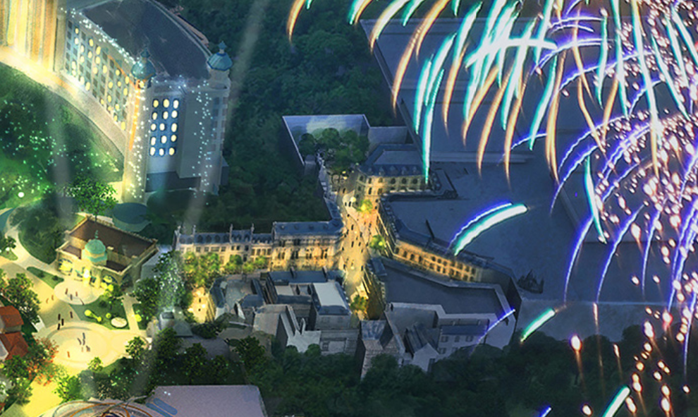 The hotel for Epic Universe can be seen on the left side of the image and the entrance area for the Wizarding World themed land on the right side - IMAGE VIA NBCUNIVERSAL