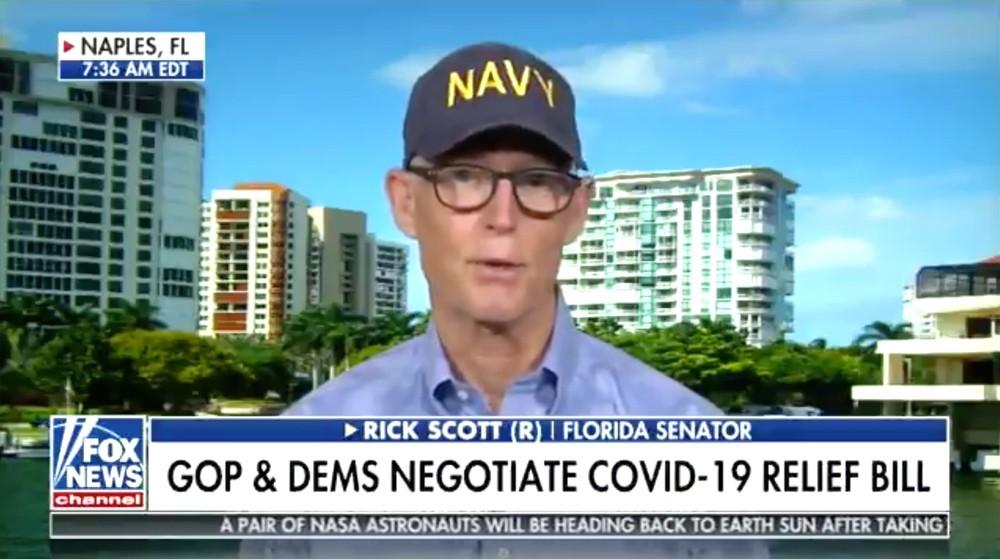 Sen. Rick Scott combines his Navy-hat schtick with his Woody Allen glasses. - SCREENSHOT VIA FOX NEWS AUG. 2, 2020