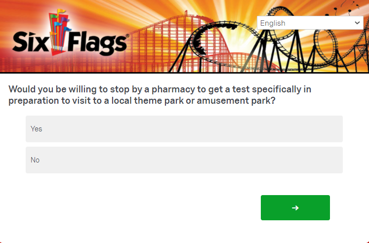 A screenshot of a question from a recent Six Flags survey regarding COVID - IMAGE VIA SIX FLAGS | QUALTRICS