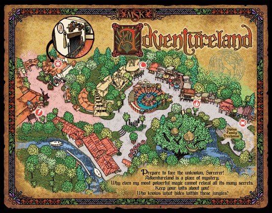 A map showing the four Sorcerers of the Magic Kingdom portals found within Adventureland - IMAGE VIA DISNEY