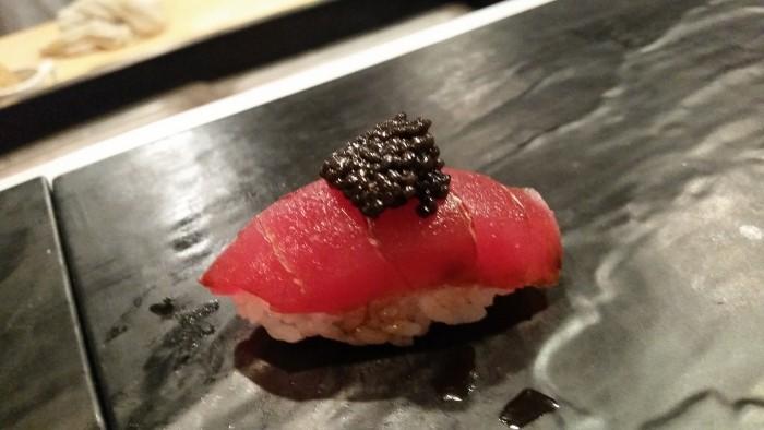 14. Nigiri of magaro, bowfin caviar
