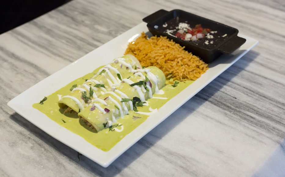 Green chile enchiladas at Saint Anejo Mexican Kitchen and Tequileria. - ROB BARTLETT