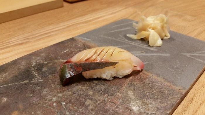 Nigiri of shimaaji (striped mackerel)
