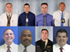 Orlando police officers participating as test subjects in the city's Amazon Rekognition pilot program pose for emulated mugshots and photos taken by the Orlando Police Department on March 20, 2018