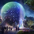 Spaceship Earth's Beacons of Magic projection show set to debut as part of WDW's 50th-anniversary celebration. The sparkling lights on the sphere are new lights that will be added to the building in the coming months.