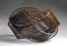 PHOTO © SUSAN EINSTEIN. - Uematsu Chikuyu, Sound of Wind, 1991. Bamboo (madake), rattan, lacquer.