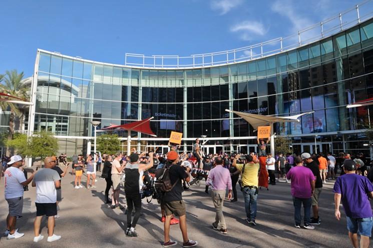 Phoenix Suns fans outside of what's now Footprint Center in downtown Phoenix. - BENJAMIN LEATHERMAN