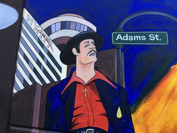 Checking out a collaborative mural at ALAC. - LYNN TRIMBLE