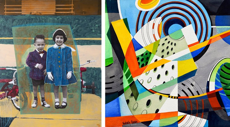 See work by Daniel Friedman (left) and Kimberly Harris in the Five15 Arts exhibit. - FIVE15 ARTS
