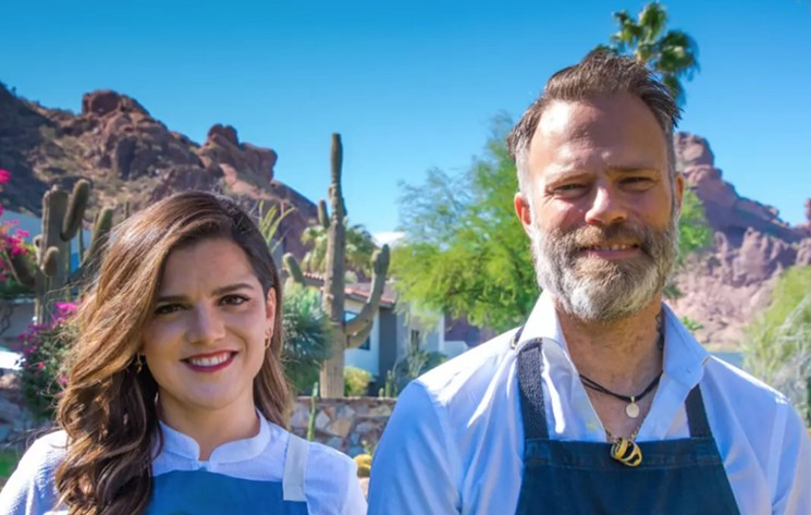 The dream team at Sanctuary — chef de cuisine Samantha Sanz and bar chef Christiaan Röllich. - SANCTUARY ON CAMELBACK MOUNTAIN RESORT AND SPA