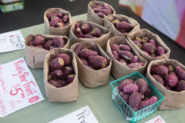 Prickly pear fruit at the Uptown Farmers Market. - JIM LOUVAU