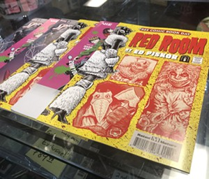 Some of the free comic books available on Saturday. - BENJAMIN LEATHERMAN