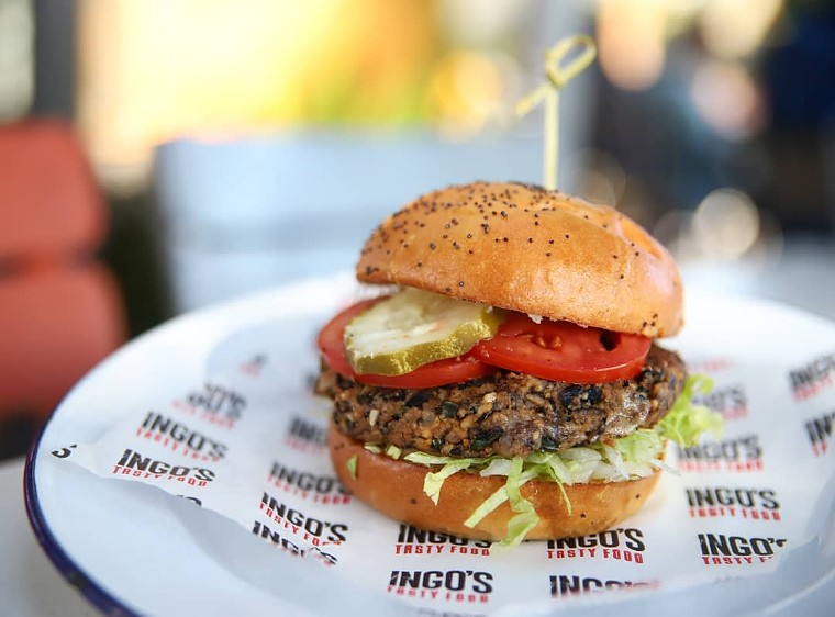 The Black Bean Burger at Ingo's Tasty Food includes a spicy nut cheese. - INGO'S TASTY FOOD