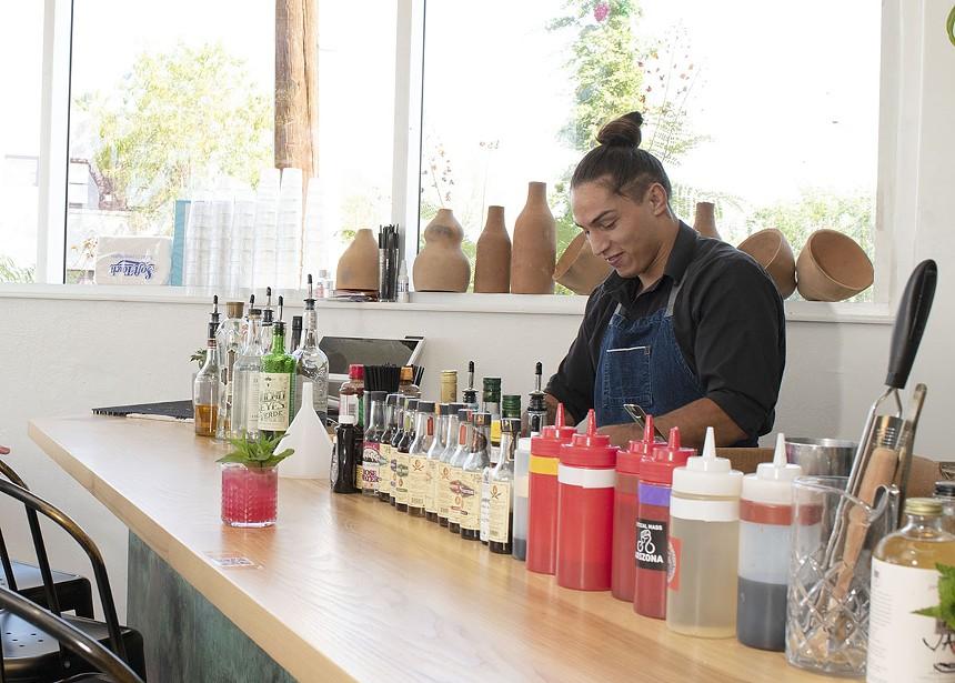 Adrian Galindo works his margarita magic at Bacanora. - JACKIE MERCANDETTI PHOTO