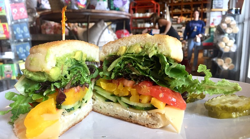 Vegetarian sandwich on English muffin at La Grande Orange. - ALLISON YOUNG