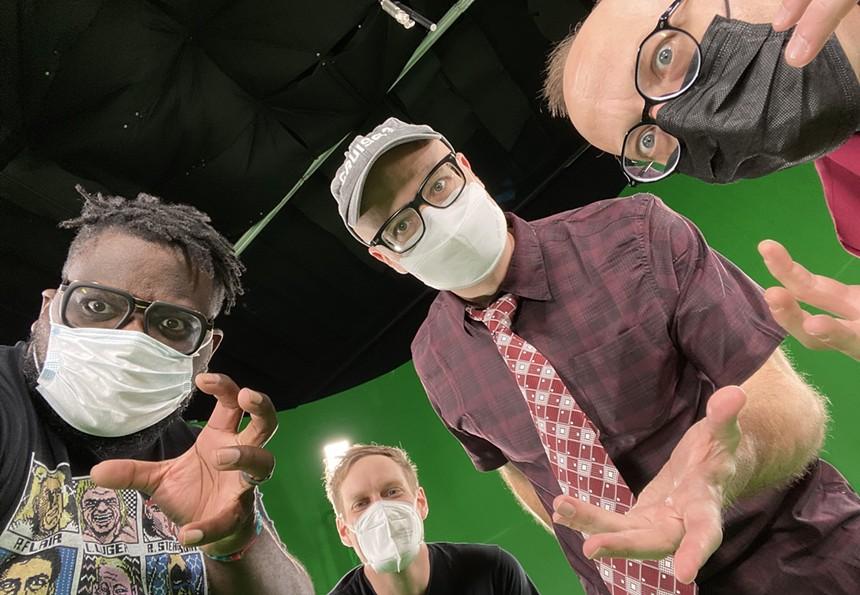 Nerd alert: Mega Ran (far left), MC Lars (center-left), MC Frontalot (center-right), and Schäffer the Darklord (right). - MEGA RAN