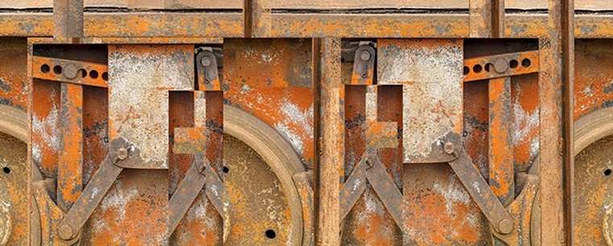"""Train Wheel Forms"" is part of Keneally's Wallescapes series. - HANK KENEALLY"