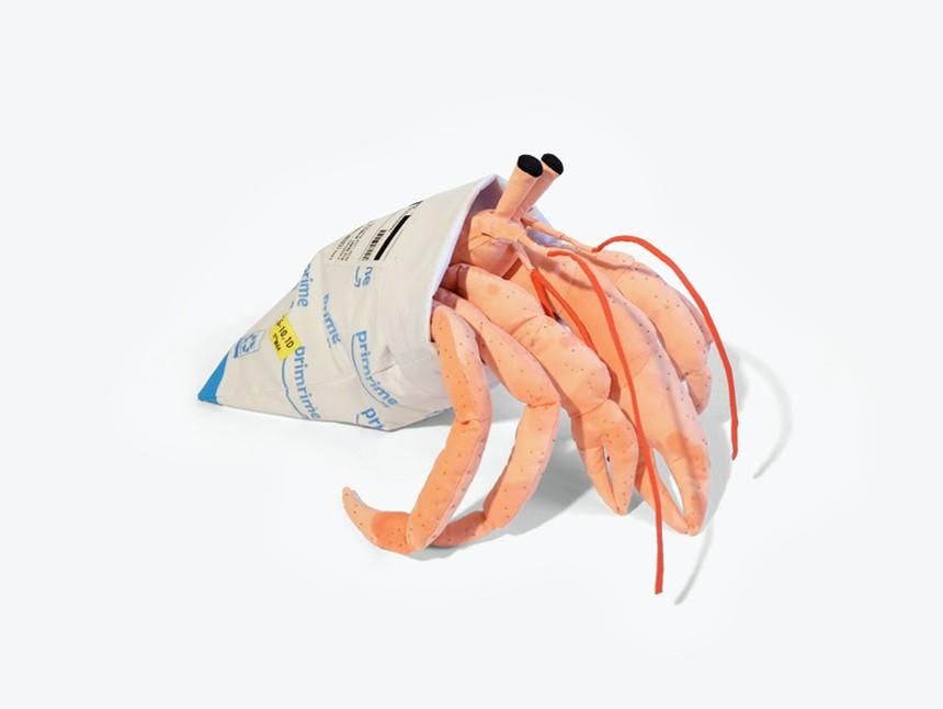 Mimi O Chun, Prime Hermit, 2021; fiberfill, armature wire, cotton cloth, embroidery floss; 18 x 12 x 12 inches. - SCOTTSDALE MUSEUM OF CONTEMPORARY ART