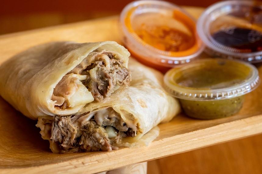 The flour tortilla-rolled burritos at Testal Mexican Kitchen. - JACOB TYLER DUNN