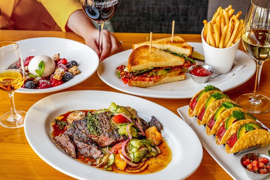 Uptown Heirloom Tomato BLT, Ahi Tuna Tacos, Grilled Asian Prime Skirt Steak, and Cooper's Hawk Berry Crisp. - COOPER'S HAWK