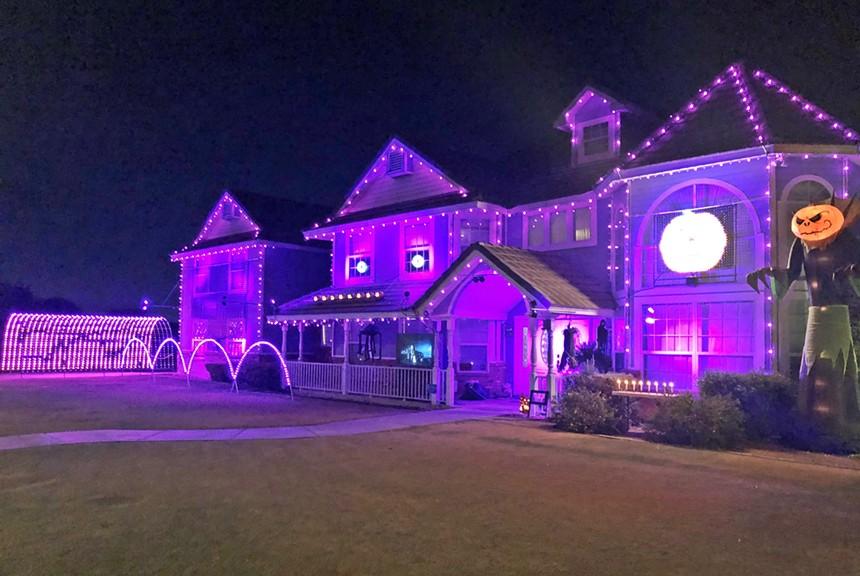 David Kipp's Halloween display lights up the night in Mesa. - BENJAMIN LEATHERMAN