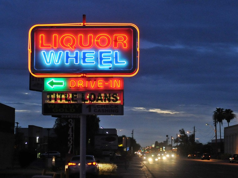 The Liquor Wheel has been a mainstay of East McDowell Road in Phoenix since its opening in the 1950s. - BENJAMIN LEATHERMAN