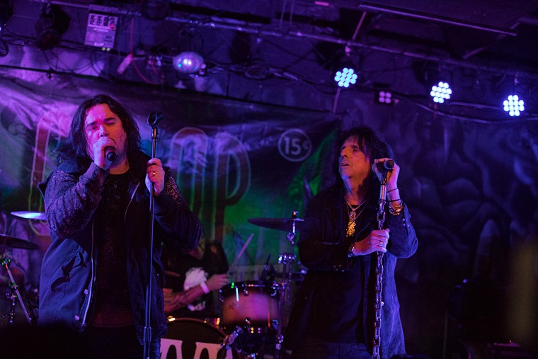 CO-OP's Dash Cooper (left) performs with his father Alice Cooper at Joe's Grotto in 2016. - JIM LOUVAU