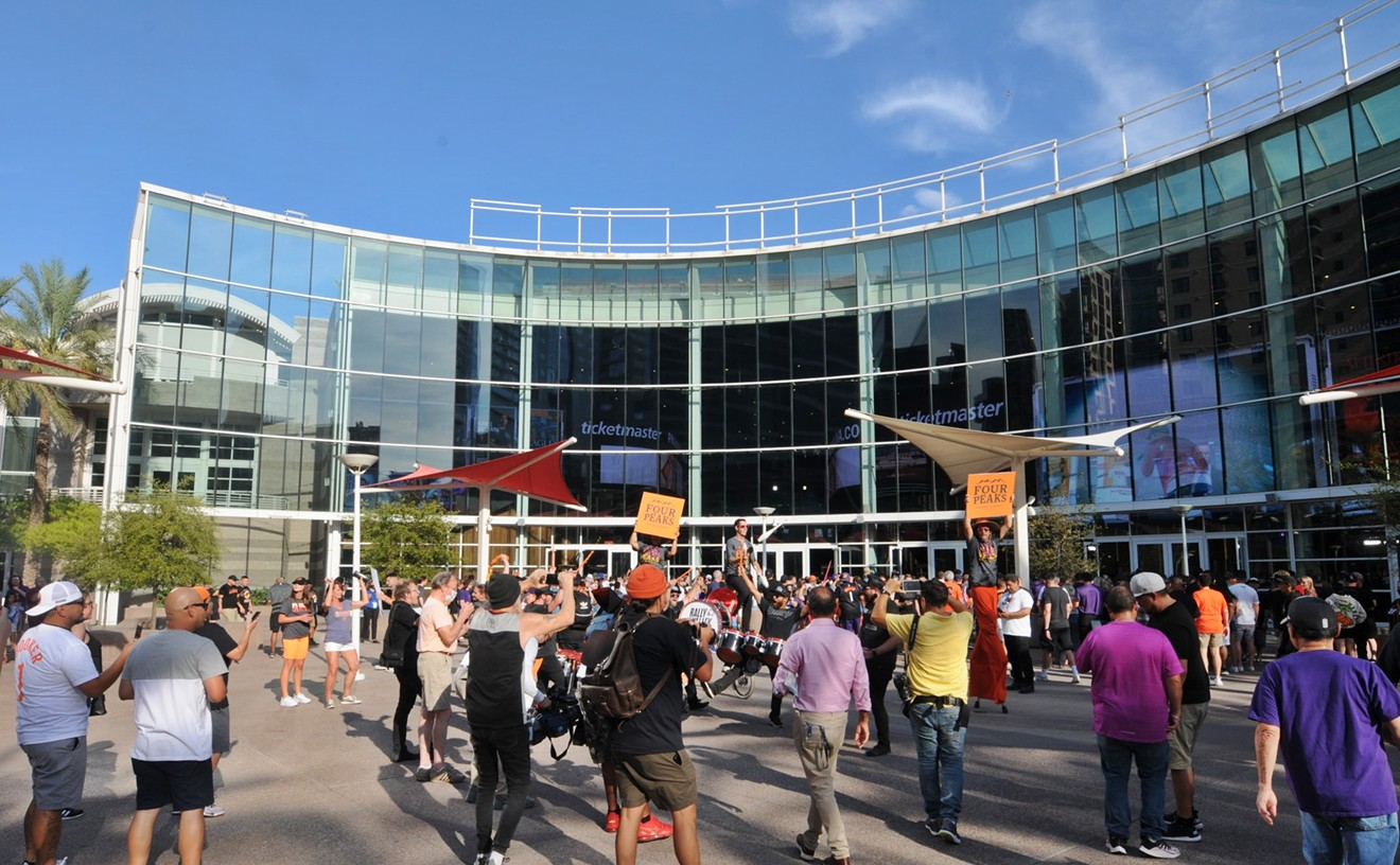 Phoenix Suns fans outside of what's now Footprint Center in downtown Phoenix.