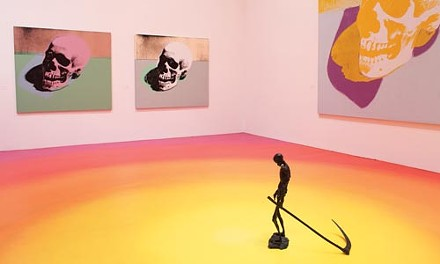 A bronze sculpture by Robert Davis and Michael Langois, and paintings by Andy Warhol, occupies one gallery in The End.