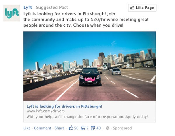 A Lyft ad on Facebook looking for drivers